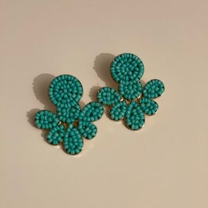 Turquoise beaded gold statement earrings posts